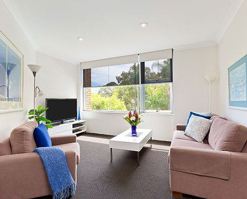 View of the Chatswood apartment living space.
