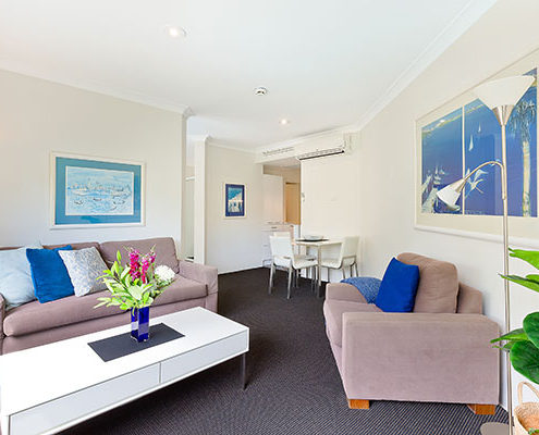 View of the open living space available for the serviced apartment in Artarmon.